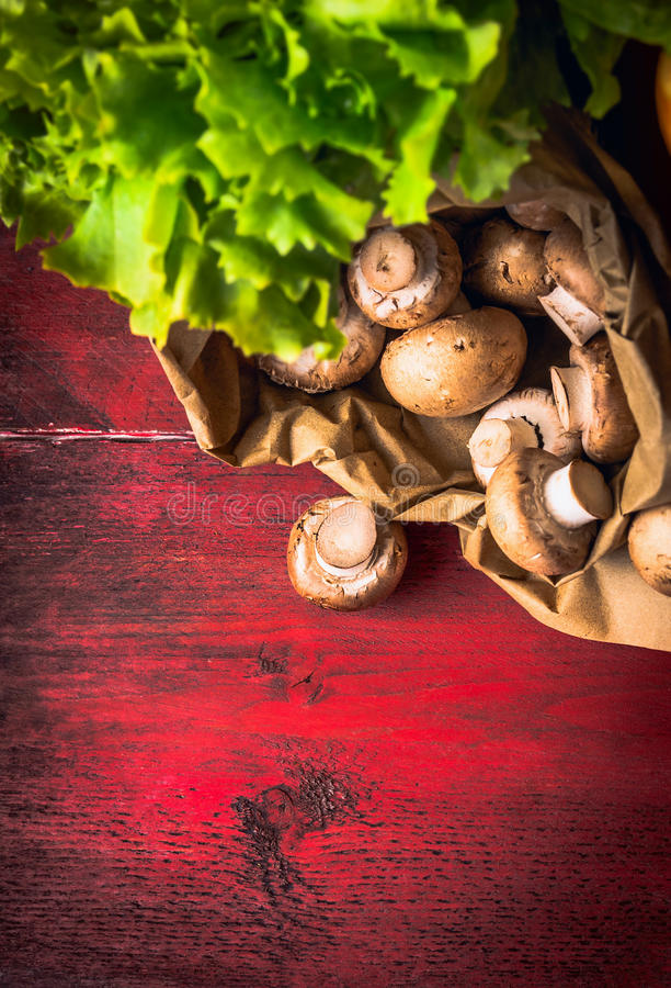 Free Field Mushroom In Paper Bag On Red Wooden Background Royalty Free Stock Photo - 50514225
