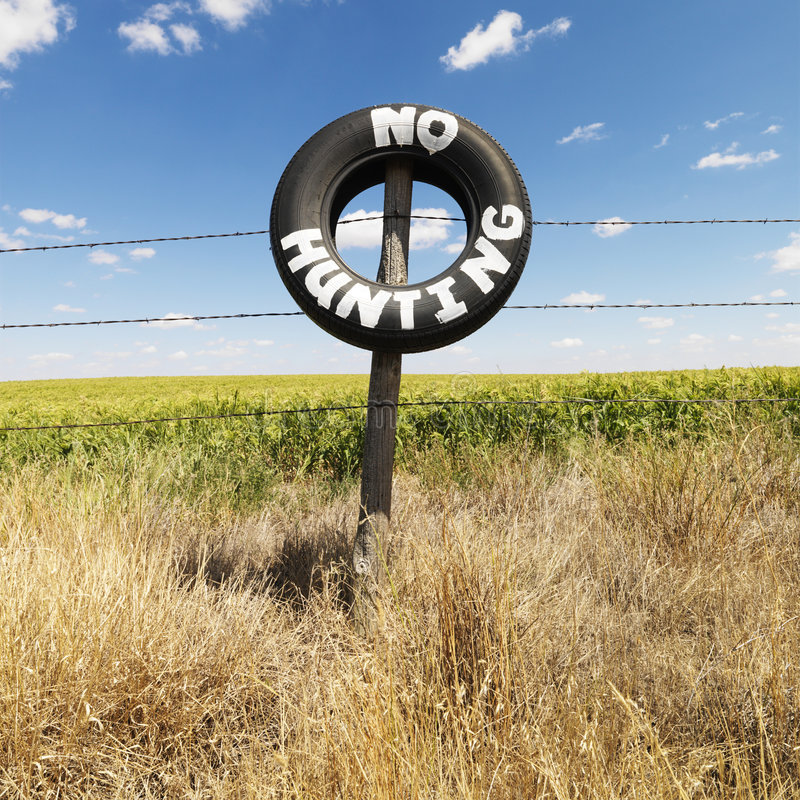 Download Field With No Hunting Sign. Stock Image - Image: 4245061