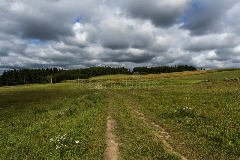 Field path leading to the forest and dark clouds. Before the storm stock photos