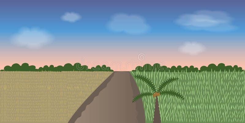 Field in the pink sky. Vector illustrations vector illustration