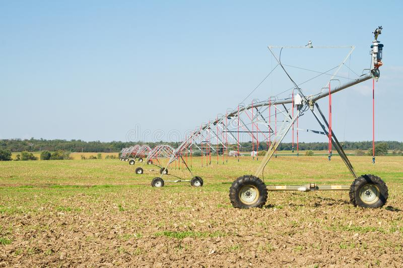 Farming Irrigation with pivot sprinkler system royalty free stock image