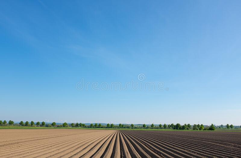 Freshly plowed field stock photography