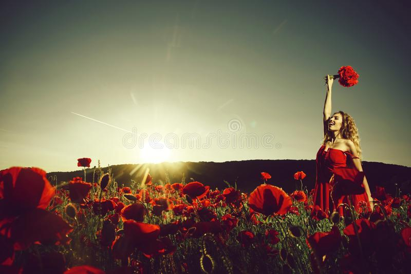 Field of poppy seed with happy woman royalty free stock photography