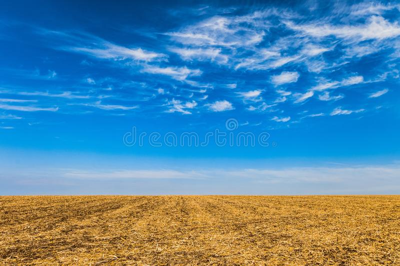 Field with removed harvested crop under the blue sky at sunny autumn day stock photos
