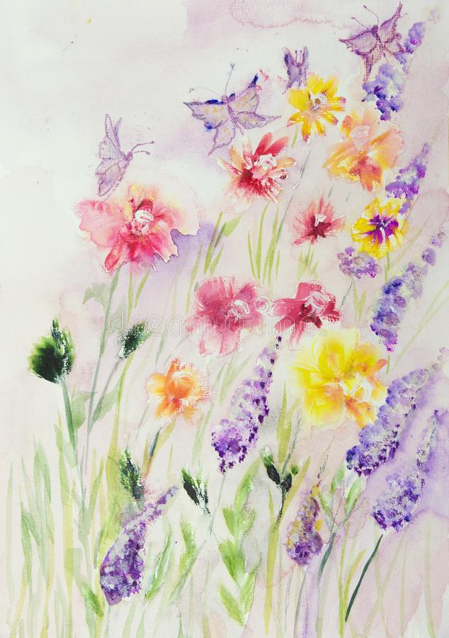 Field of roses and lupines with butterflies. royalty free illustration