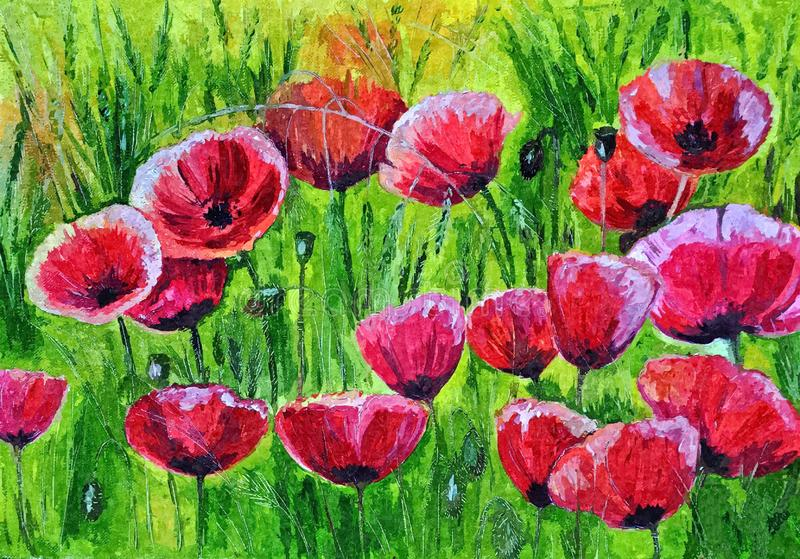 Field of scarlet poppies. Rural landscape. Painting wet watercolor on paper. Naive art. Drawing watercolor on paper. stock illustration