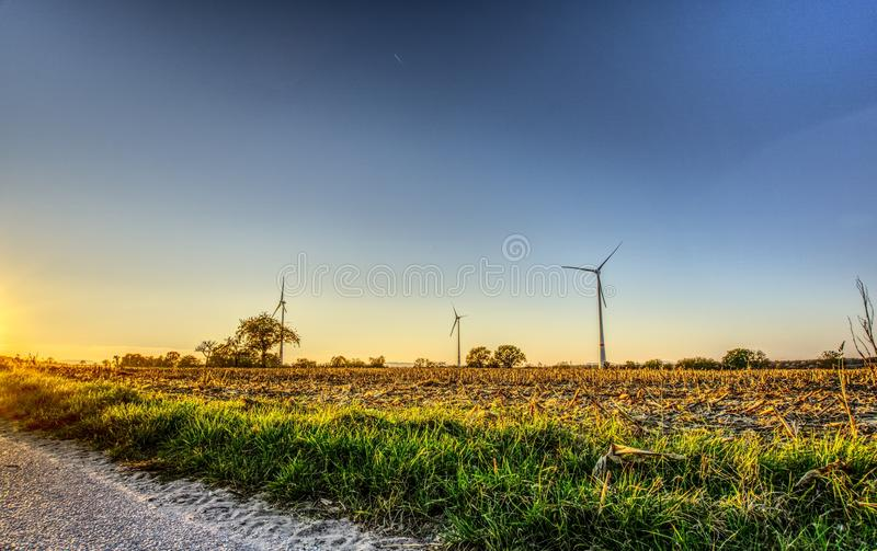 Field, Sky, Ecosystem, Windmill royalty free stock image