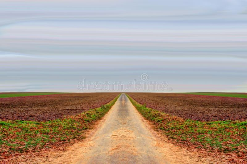 Field, Sky, Road, Horizon royalty free stock photography
