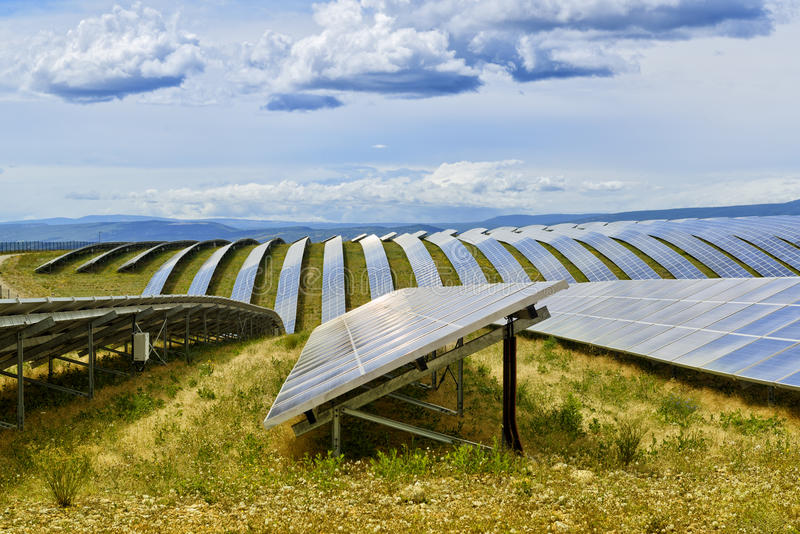 Field of solar panels royalty free stock photos