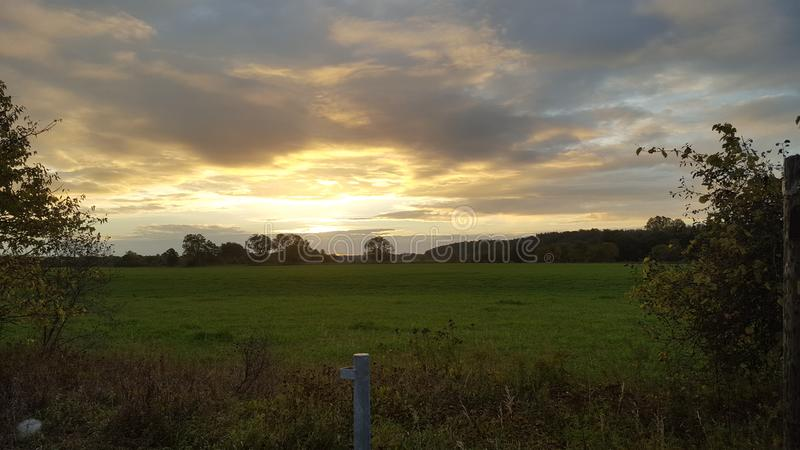 Field at sunrise royalty free stock photos