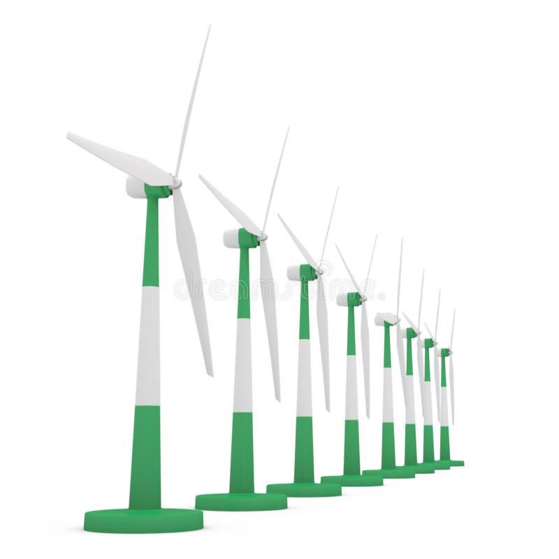 field turbines wind yellow royaltyfri illustrationer