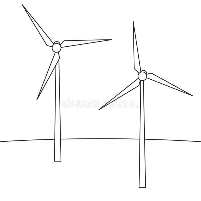 field turbines wind yellow En apparat för att producera elektricitet Vindturbiner i stilen av linjen vektor illustrationer