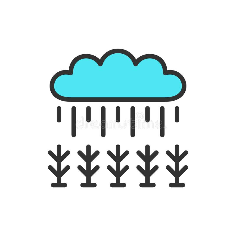 Field under rain flat color line icon. vector illustration