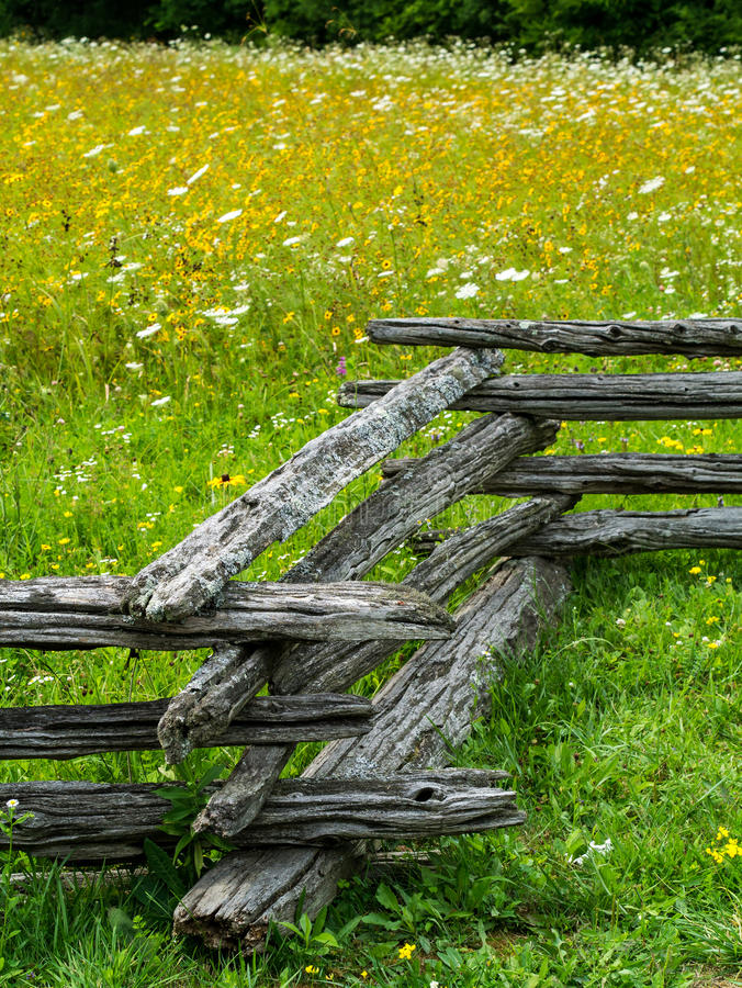 Field of Wildflowers. Landscape scene of a rustic rail fence and a field of wildflowers stock photo