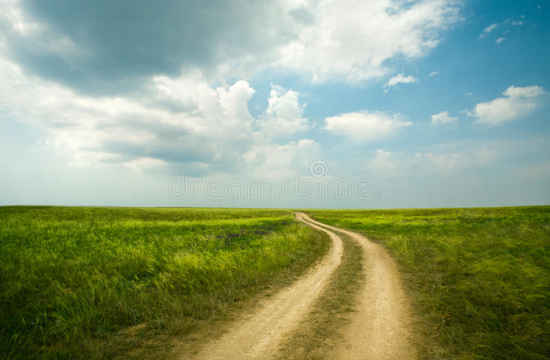 Field winding road through royalty free stock image