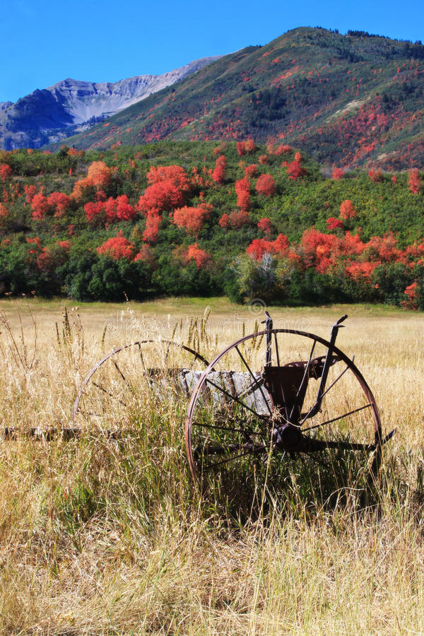 Free Field With Old Farm Equipment And Fall Colors Royalty Free Stock Photos - 21382588