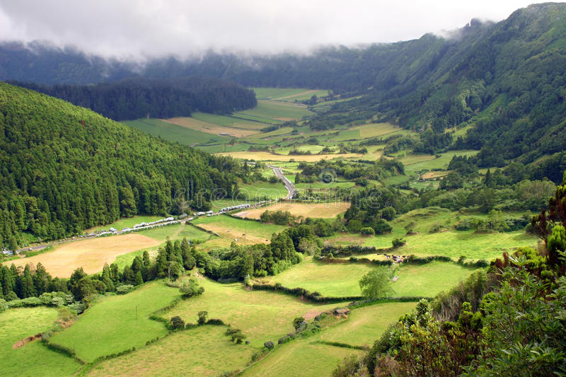 Fields. Azores natural landscape in s miguel island stock photos