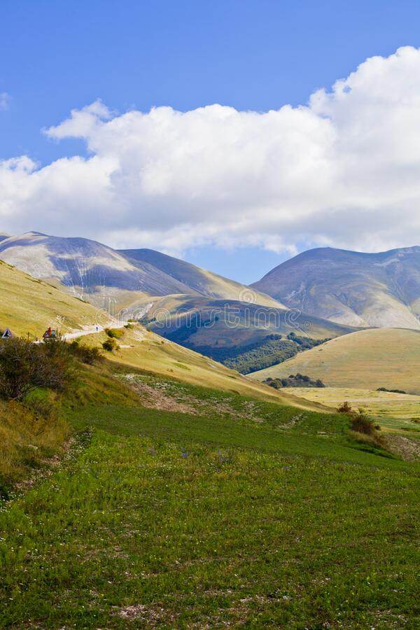 Fields in Castelluccio di Norcia, Umbria, Italy. October 2019 royalty free stock images
