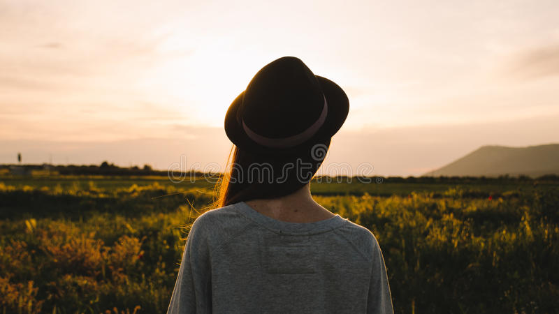 Fields Country Sunset Women royalty free stock photos
