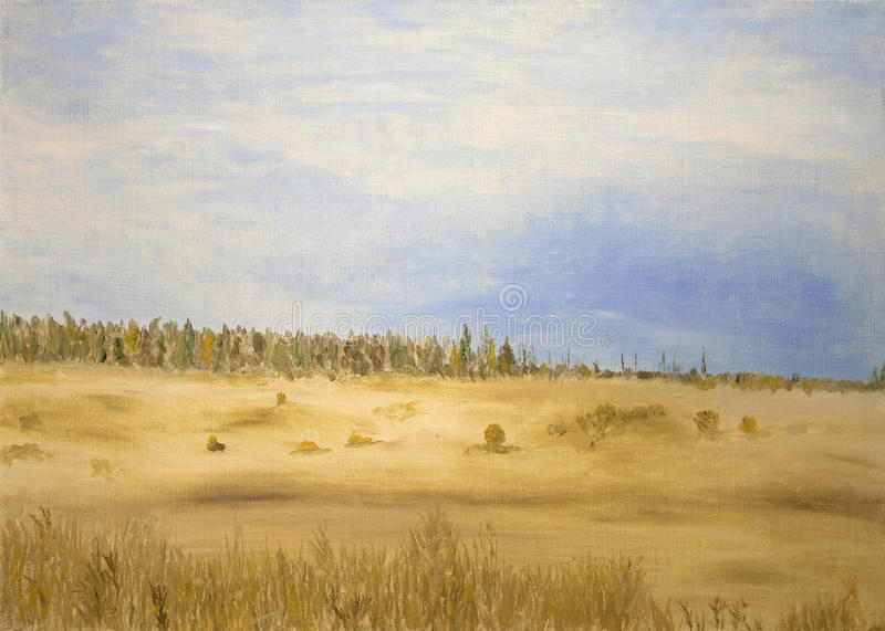 Download Fields and forest stock illustration. Image of artistic - 26285958