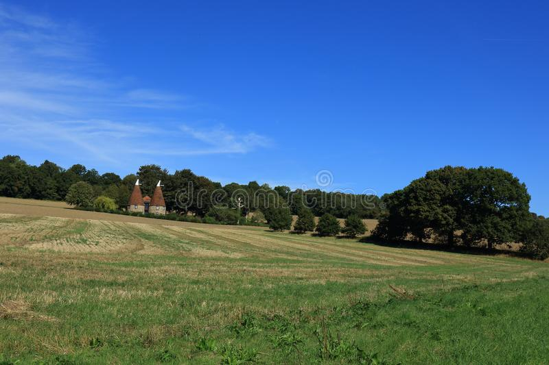 Fields and Meadows in the heart of the Kent countryside. Fields, Meadows and green trees in the heart of the Kent countryside stock photo