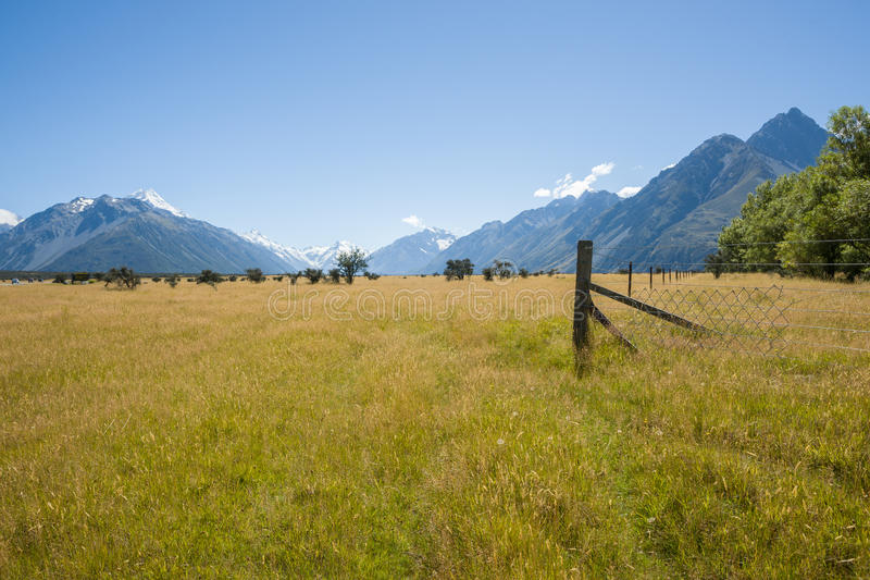 Fields and mountains. stock images