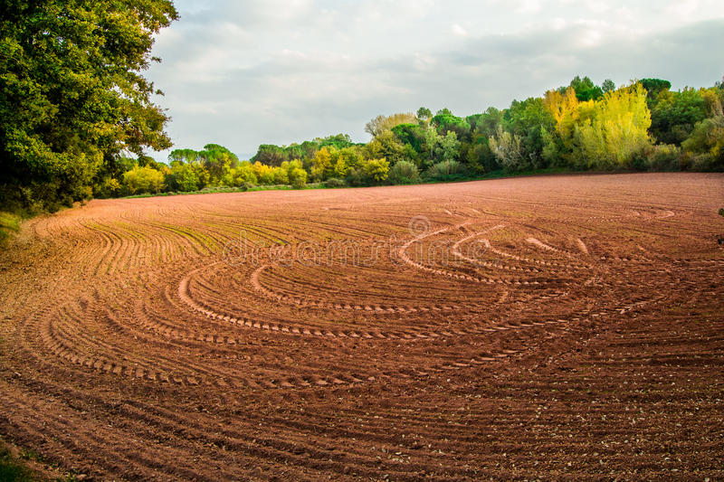 Fields worked. At the end of the autumn stock images
