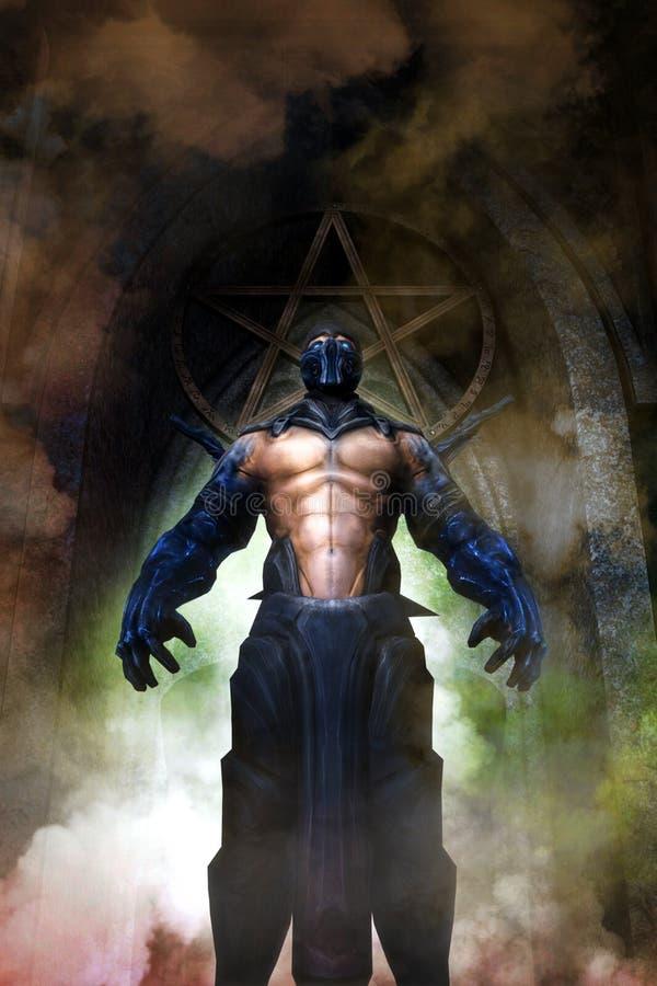 Fiend демона ратника фантазии злий иллюстрация штока