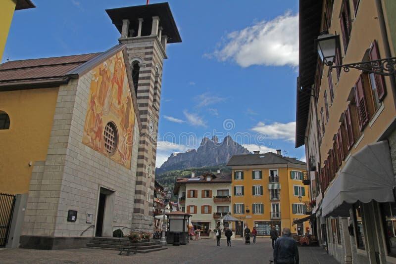 Fiera church. The historic church of fiera di primiero in italy royalty free stock image