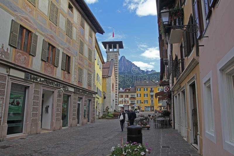 Fiera di primiero. The main street of fiera di primiero in north italy stock photography