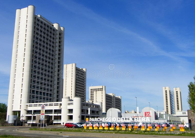 Fiera District in Bologna, towers designed by Kenzo Tange, Bologna, Italy. Fiera District in Bologna, Bologna, Italy stock photography
