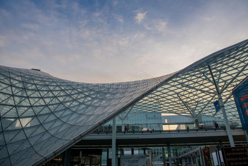 Fiera Milano Rho. Rho Milano Italy 2 December 2018: Fiera Milano Rho entrance. Fiera Milano Rho is an important international trade fair and conference on visual royalty free stock images