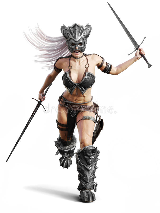 Fierce armed female barbarian warrior running into battle on an isolated white background. 3d rendering illustration royalty free illustration