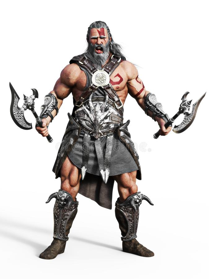 Fierce armored barbarian warrior ready for battle on an isolated white background. 3d rendering illustration stock illustration