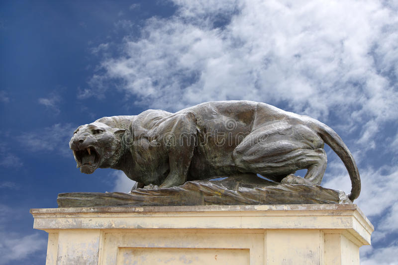 A Fierce Bronze Tiger Sculpture At Mysore Palace Stock Images