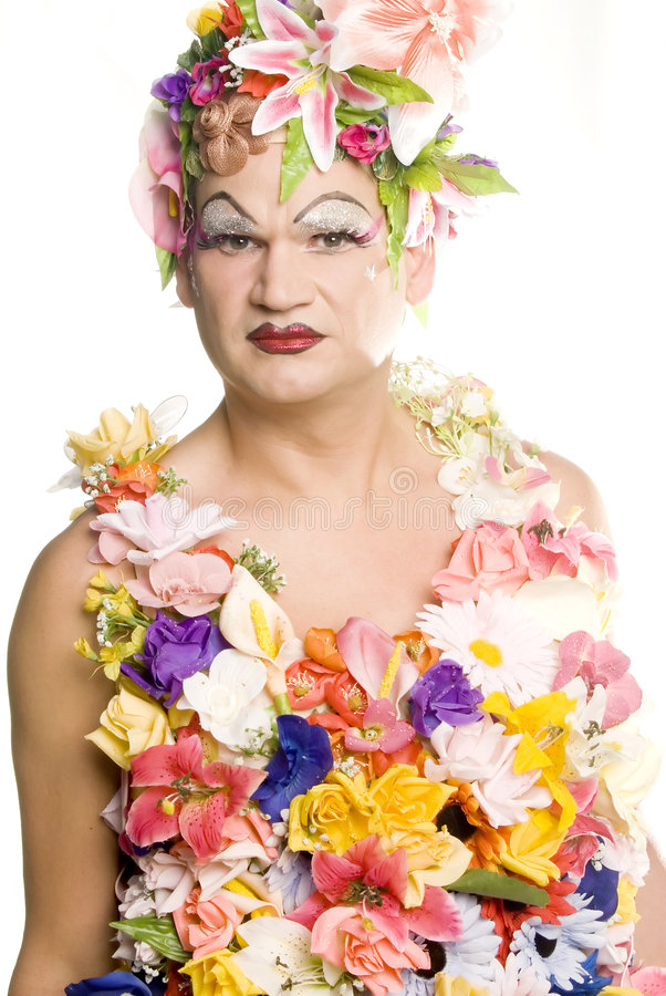 Fierce Drag Queen. This image shows a drag queen dressed in a very festive flower outfit stock images