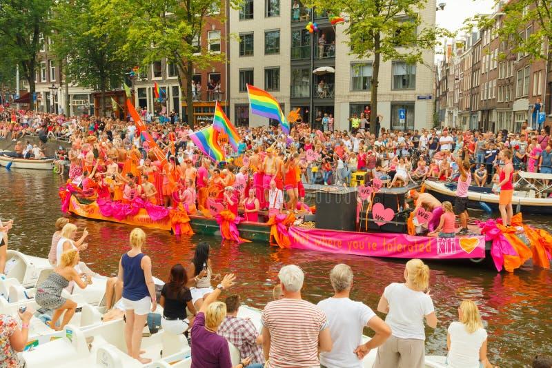 Fierté gaie 2014 d'Amsterdam image libre de droits