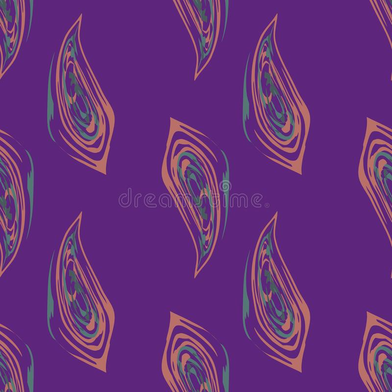 Fiery abstract orange and teal fall leaves in painterly brushstroke style design. Vector seamless pattern on purple. Background. Great for wellbeing, packaging vector illustration