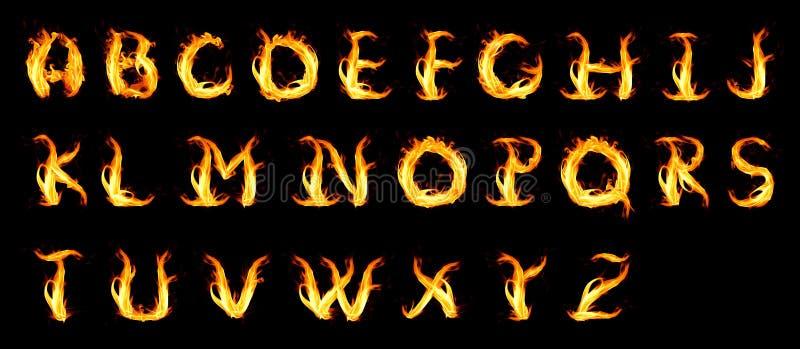 Fiery alphabet. Isolated on a black vector illustration