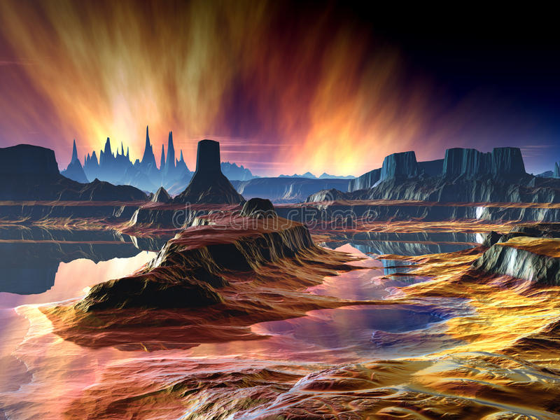 Download Fiery Aurora Over Distant World Stock Illustration - Image: 25376249