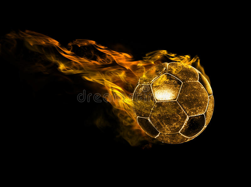Fiery ball. Flying fiery ball on black background stock illustration