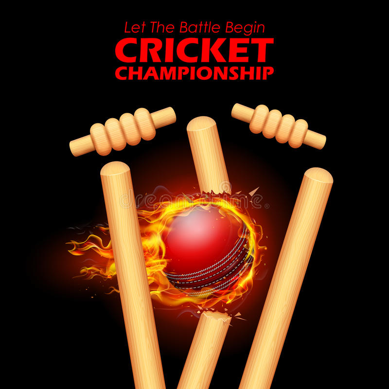 Fiery ball breaking the stumps for Cricket. Illustration of Fiery ball breaking the stumps for Cricket Championship vector illustration