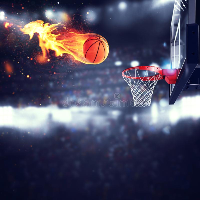 Fiery ball goes fast to the basket. At the stadium stock illustration