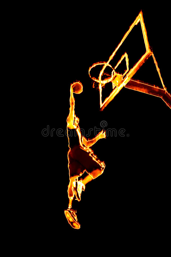 Fiery Basketball Slam Dunk. Abstract illustration of a fiery burning basketball player going up for a slam dunk stock illustration