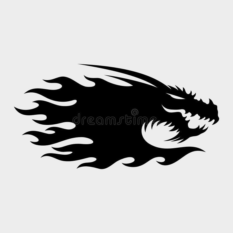Fiery black dragon. Fiery black dragon on a gray background royalty free illustration