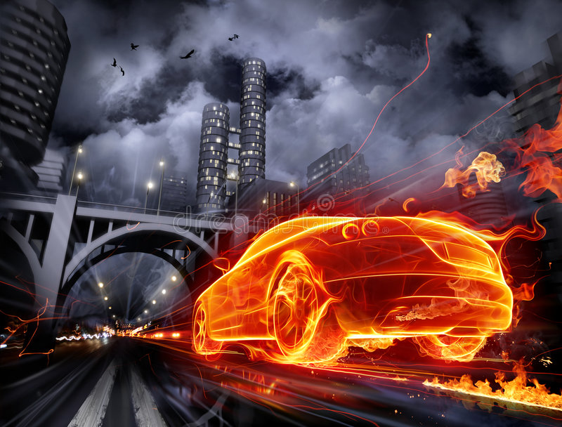 Download Fiery car stock illustration. Image of blaze, ravens, racing - 7771245