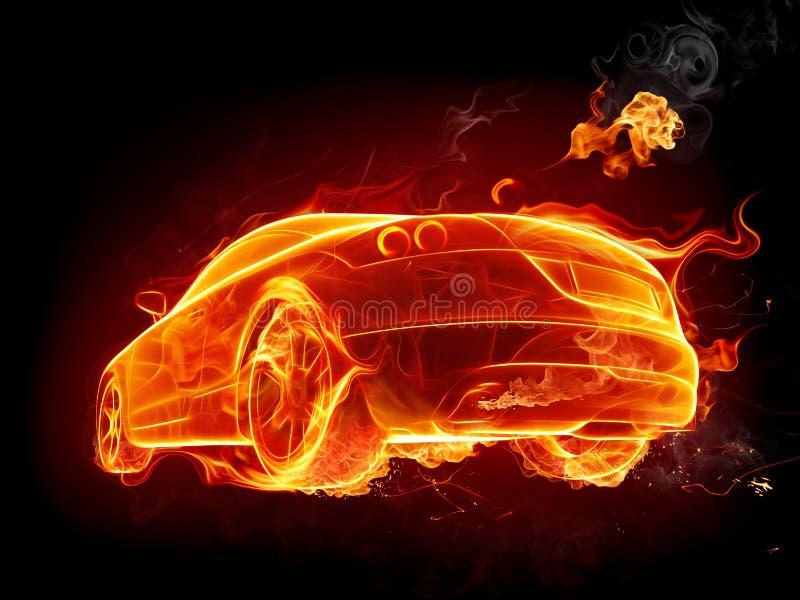 Fiery car. Isolated on black vector illustration