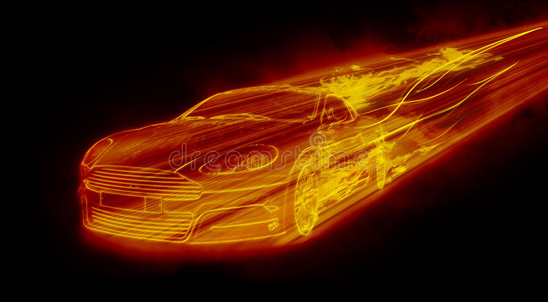 The Fiery Car. Isolated on black background royalty free illustration