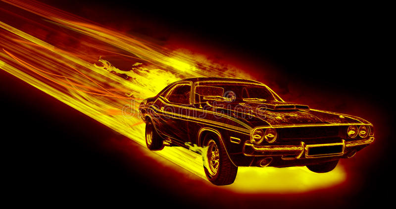 The Fiery Car. Isolated on black background stock illustration