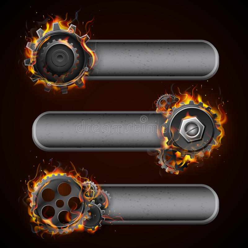 Fiery Cog Wheel. Illustration of fire flame in cog wheel with copy space vector illustration